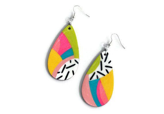Statement Long Large Wood Multi Coloured Butterfly Hook Drop Dangle Earrings Uk