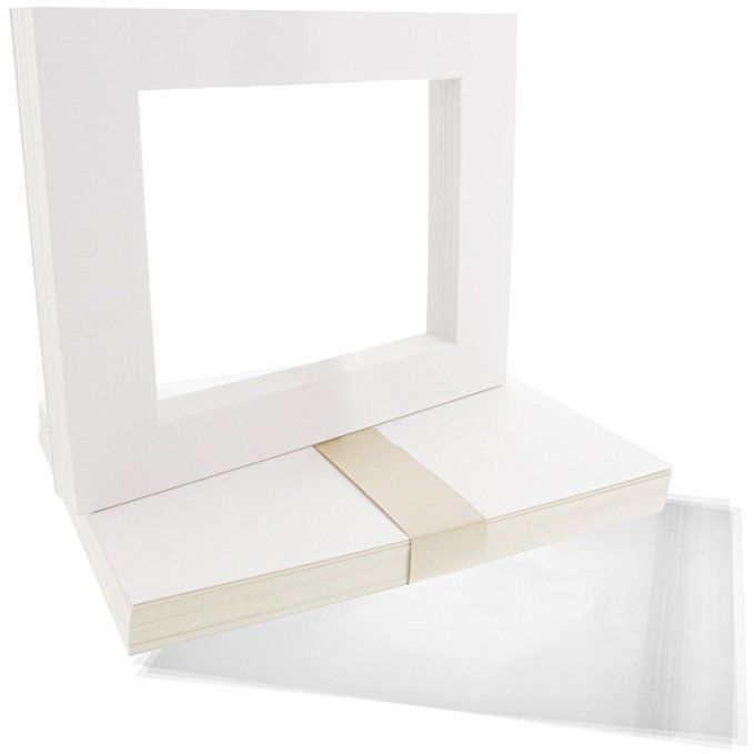 Backing Bags Pack of 25 8x10 WHITE Picture Mats with WhiteCore for 5x7 Photo