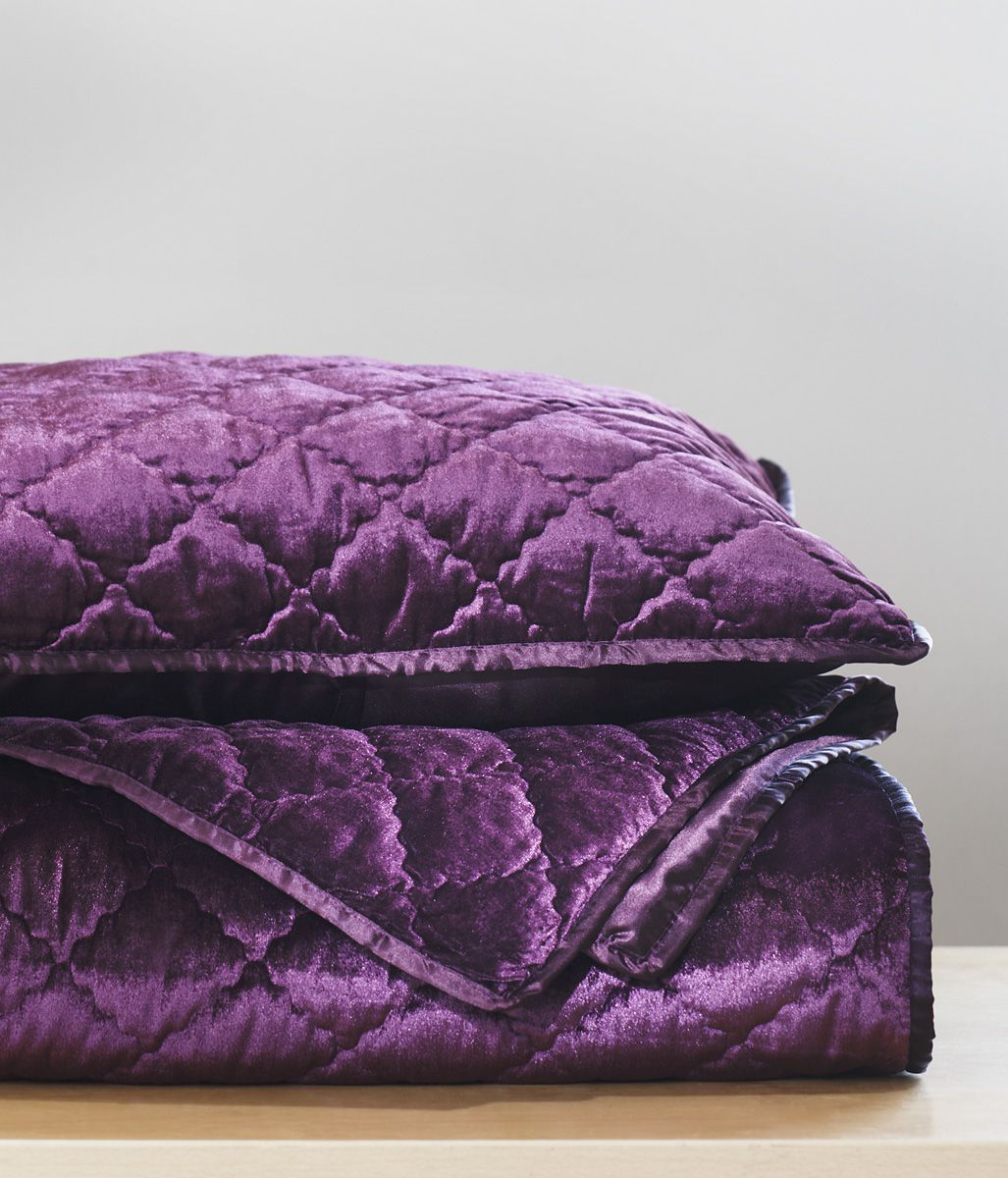 Add Luxury To Your Bedroom With Our Plum Velvet Coverlet. #AnnasLinens  #Purple