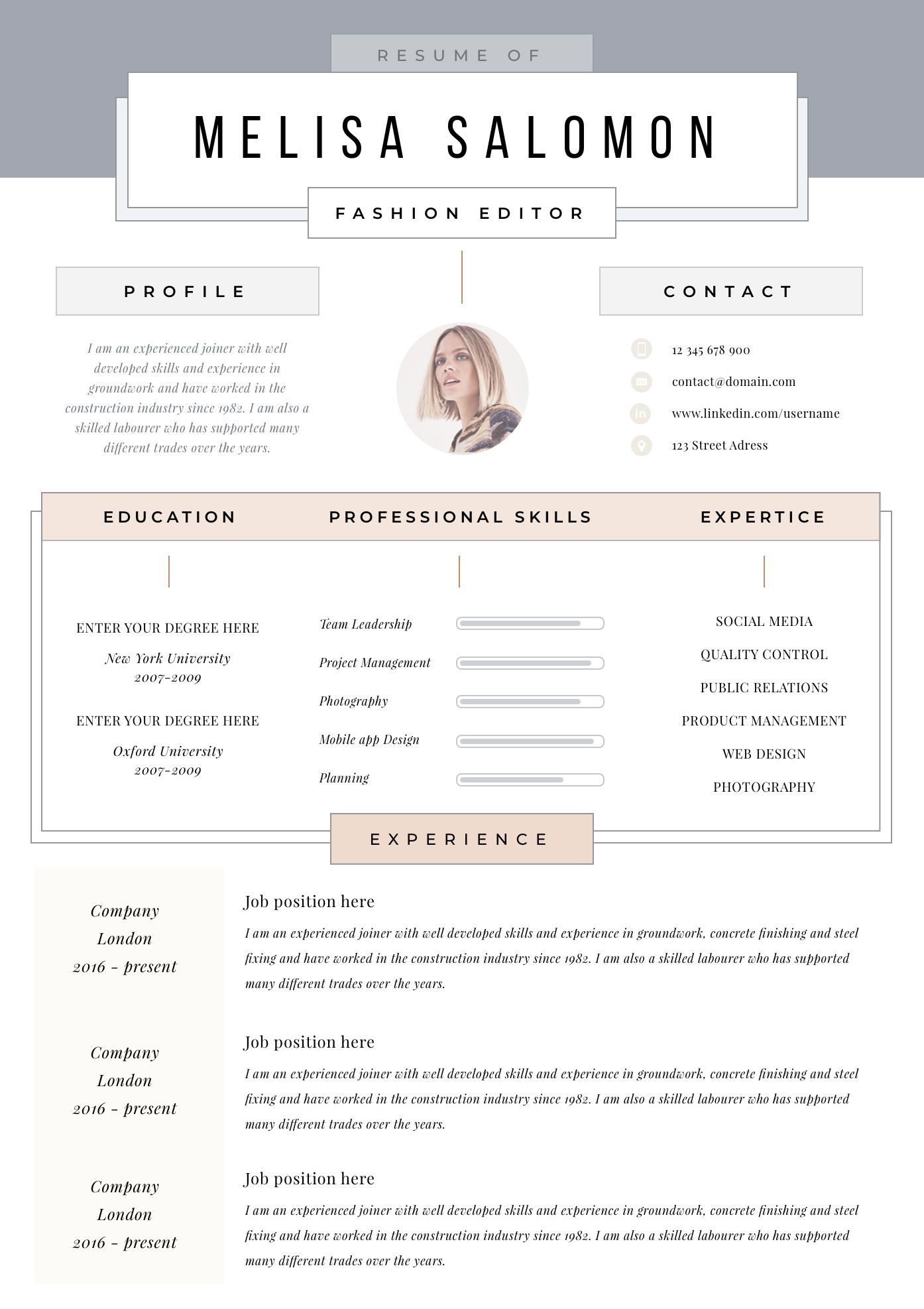 Creative Resume Template For Word Pages Creative Cv Template 1 Page Resume Cover Letter Instant Download Fashion Feminine Resume Template Creative Resume Creative Cv Template Creative Resume Templates