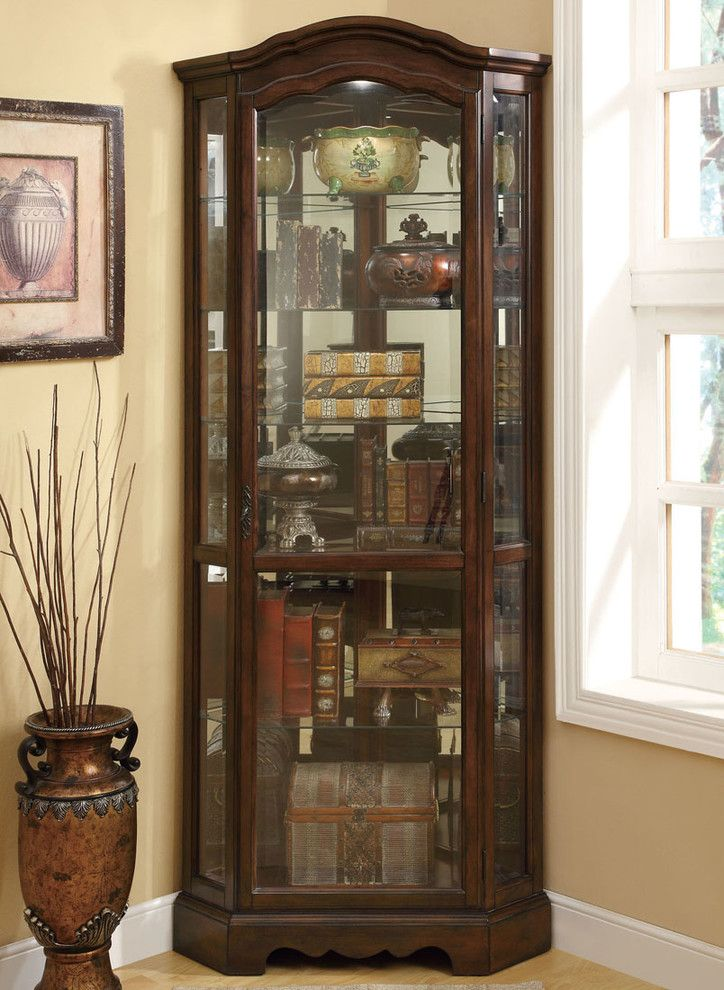 Freestanding Corner Cabinet With Three Sided Gl Door And In Dark Wood Finishing Of Cabinets Dining Room Beautiful Pieces For Your Cherished