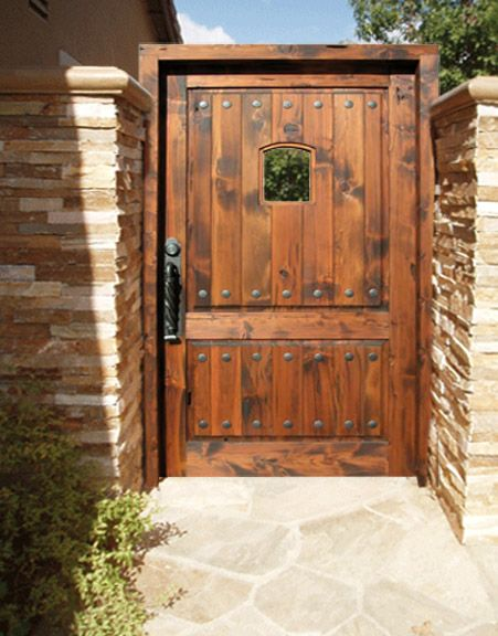Solid Wood Gates With Hand Forged Wrought Iron Hardware