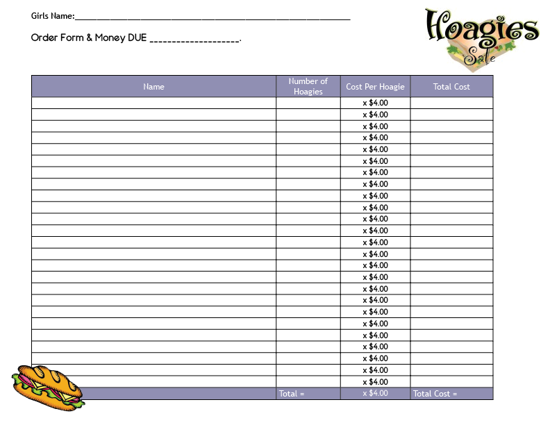Hoagie Sale Fundraiser all Ages Girl Scout Leader Connect – Fund Raiser Order Form