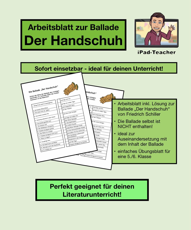 """DEUTSCH Übungsblatt zur Ballade """"Der Handschuh"""" PDF ..."""