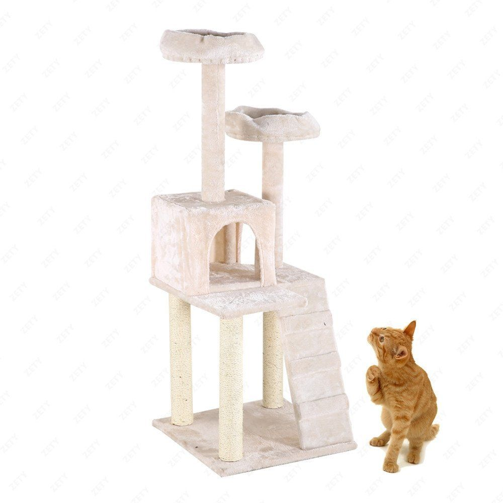 M M Cream Almond Cat Tree 51 Condo Furniture Kitten Scratching Post Cat Play House See This Awesome Image This I Cat Tree Cat Scratching Post Play House