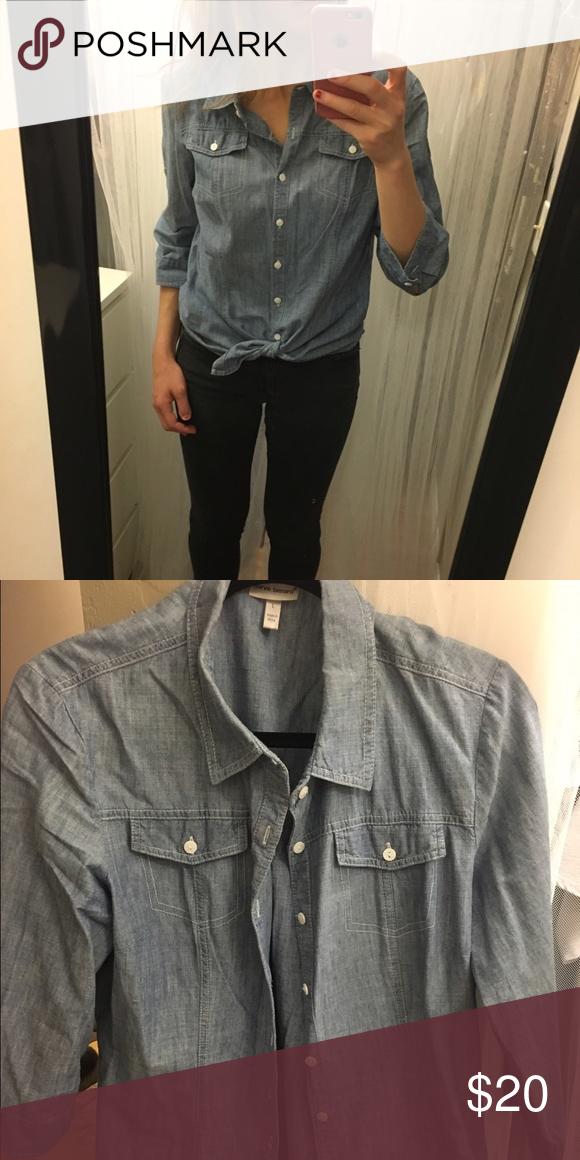 Half-Sleeve Denim Shirt Cute denim shirt. Looks good buttoned or tied at the bottom. Like-new! Harve Benard Tops Button Down Shirts