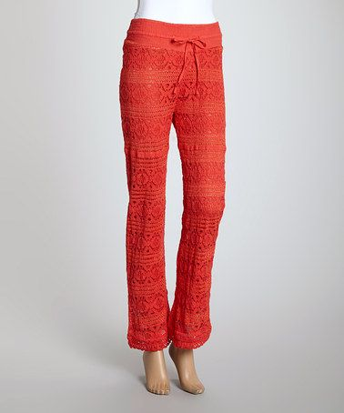 Loving this Coral Lace Drawstring Straight-Leg Pants - Women on #zulily! #zulilyfinds