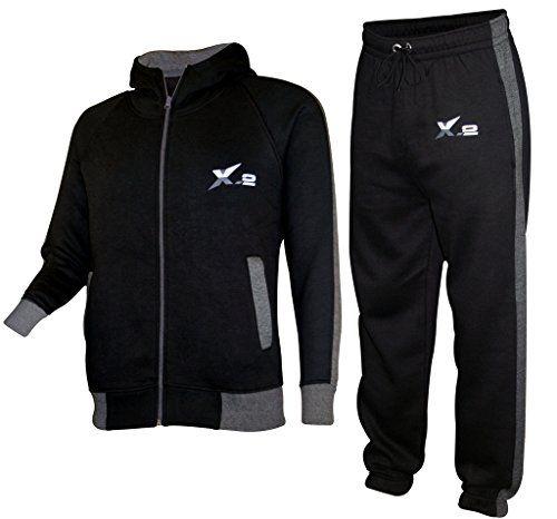 Mens Athletic Full Zip Fleece Tracksuit Jogging Sweatsuit Activewear