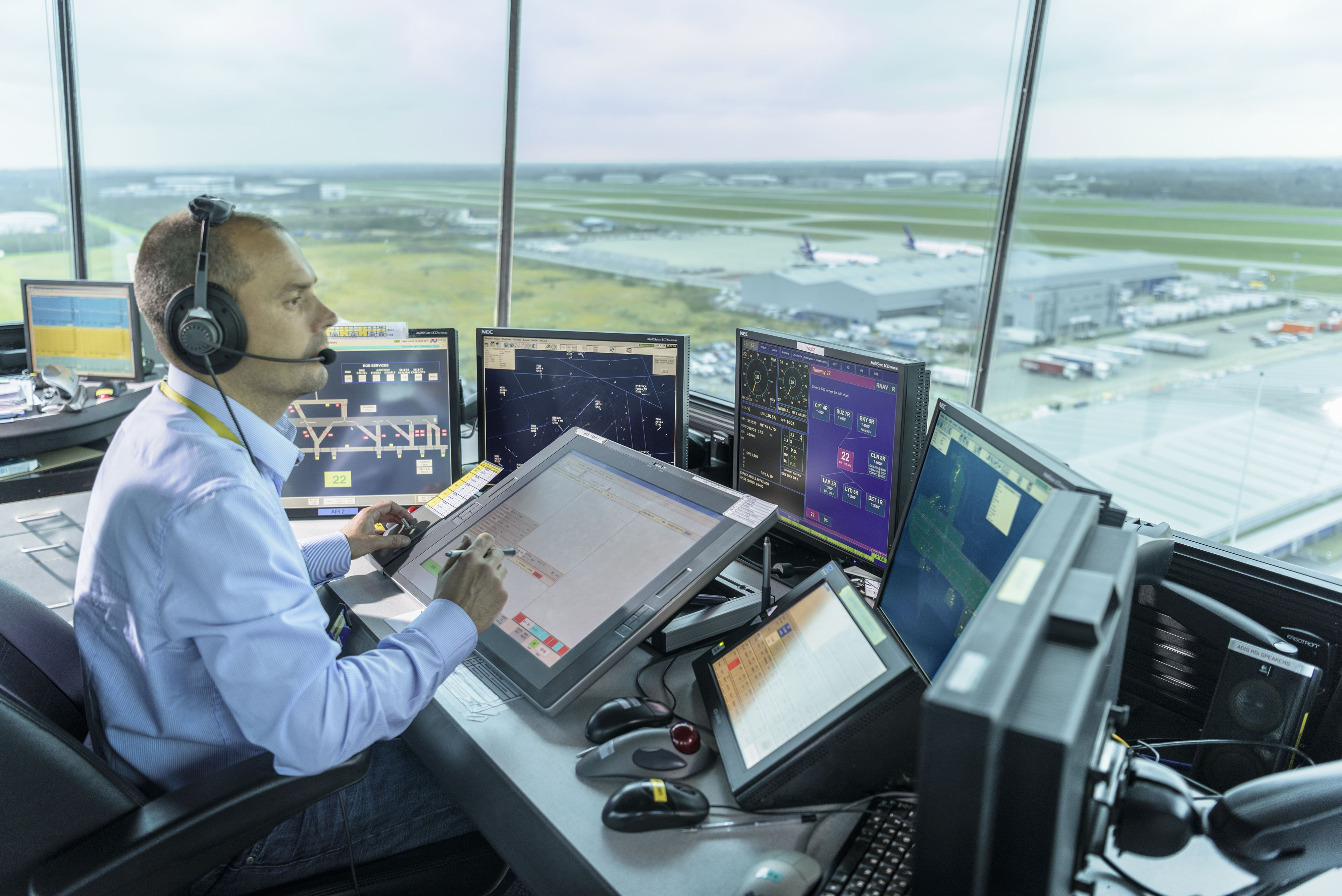 Inside London Stansted control tower overlooking the