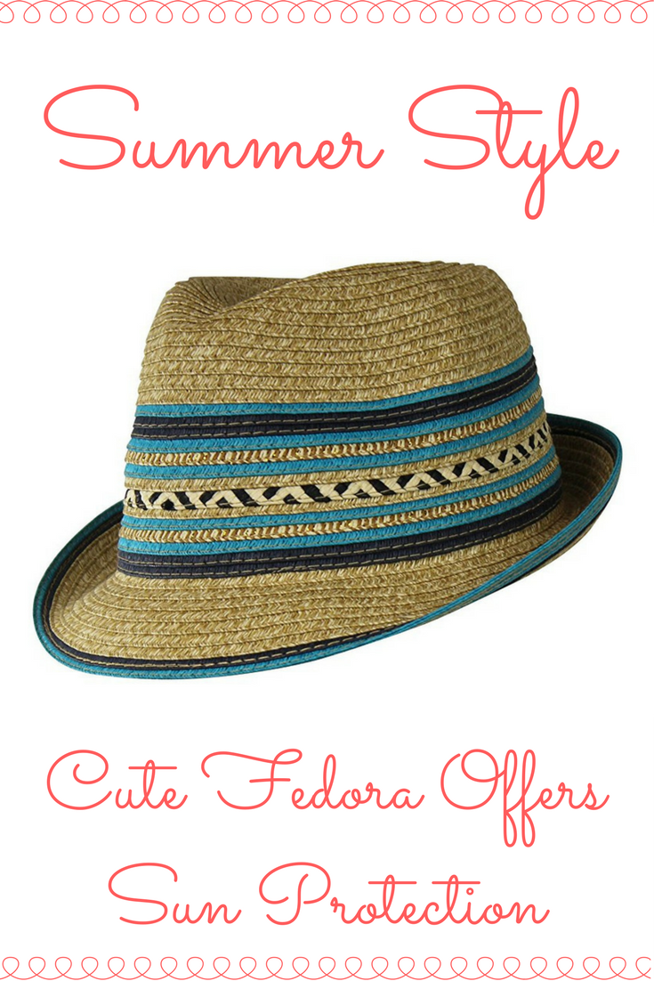27a0ec94 Cute Straw Fedora Hat w/ Chevron & Stripe Accent. Protect your self from  the summer sun! Fedora has adjustable inner drawstring. (Amazon Ad)