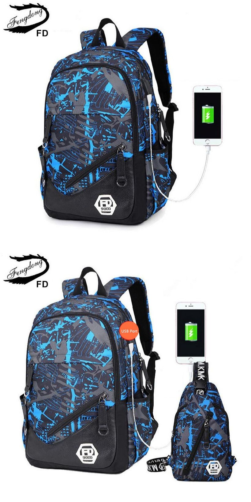 FengDong blue External USB Charge men travel Backpack Male Laptop bag 15.6  college bags high school backpacks for boys rucksack 62c51707db82a