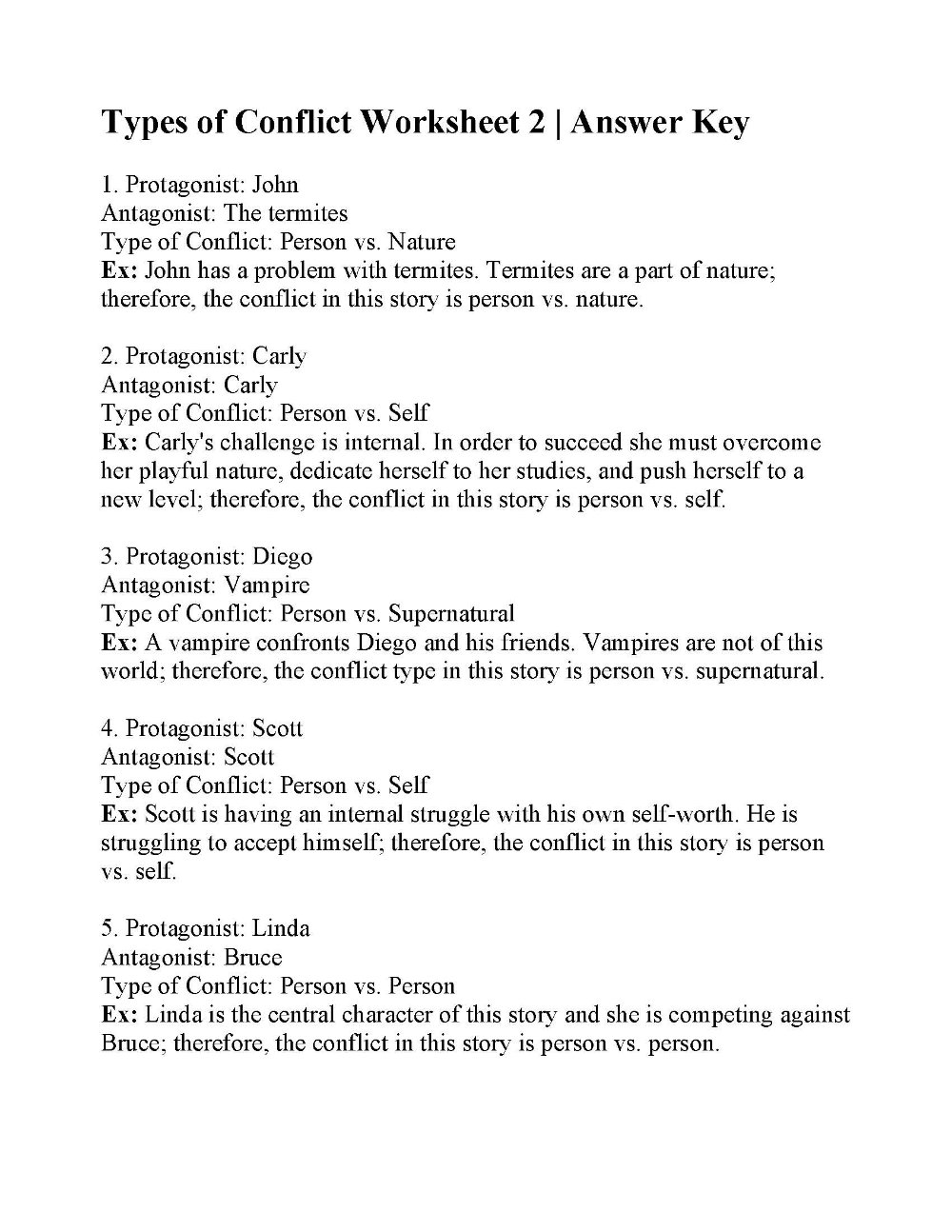 Types Of Conflict Worksheet 2 Answers Types Of Conflict