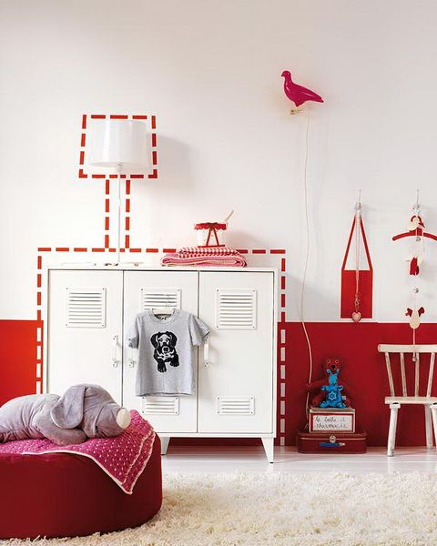 strawberry red and white kid\u0027s room colours - red  hot