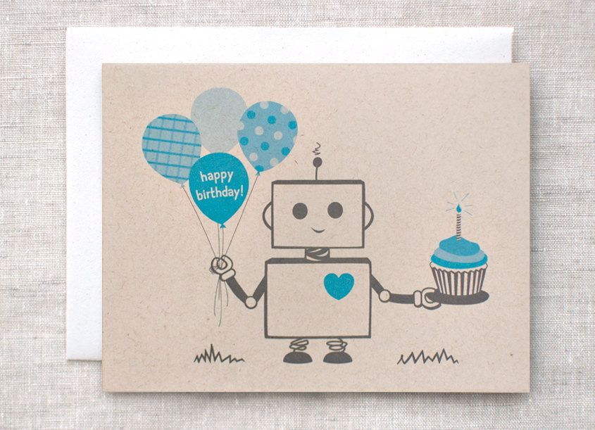 Birthday card for him boys blue robot happy birthday card eco items similar to birthday card for him boys blue robot happy birthday card eco friendly card on etsy bookmarktalkfo Choice Image
