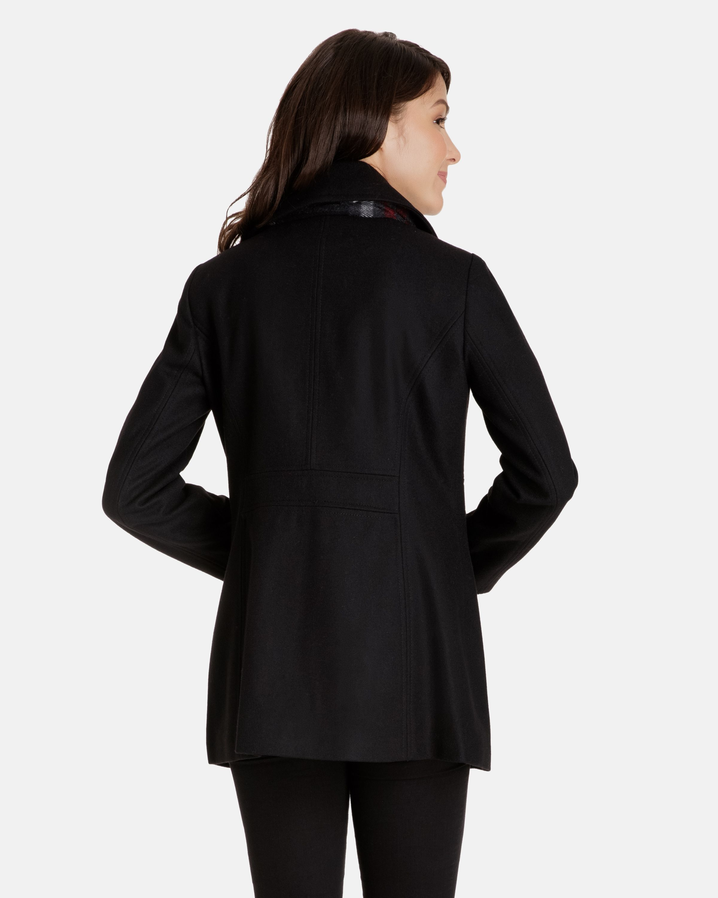 4205e448a11d9 Quinn Double Breasted Wool Pea Coat for Women - Scarf