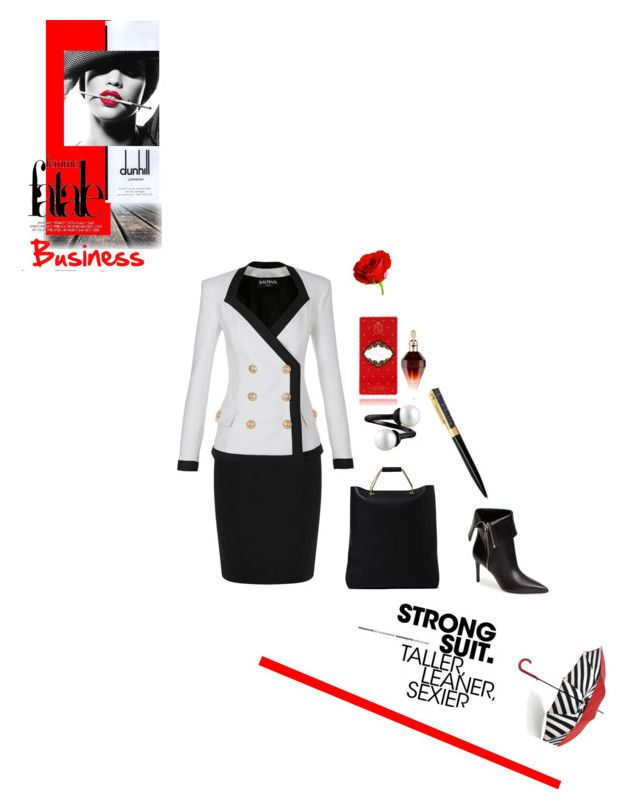 """Irresistible Business Woman"" by fl4u ❤ liked on Polyvore featuring Lulu Guinness, Dunhill, Warehouse, Balmain, Marni, Yves Saint Laurent, Swarovski, MAKE UP FOR EVER, WorkWear and chic"