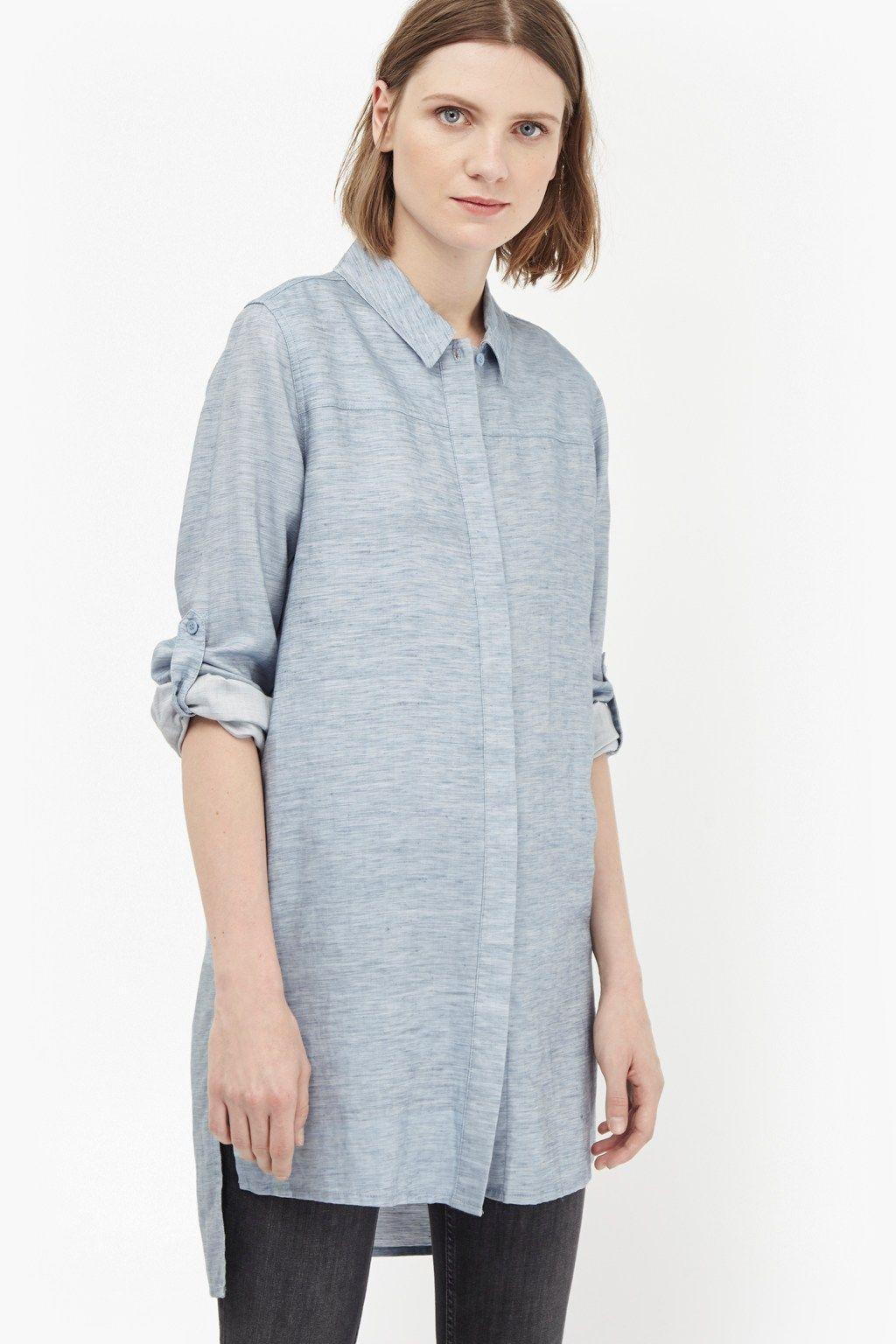 Tencel Chambray Shirt Dress   Dresses   Chambray shirt