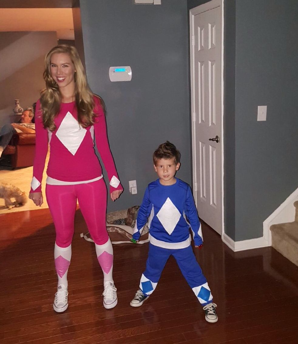 DIY power ranger costumes. :) lots of hot glue and felt ...
