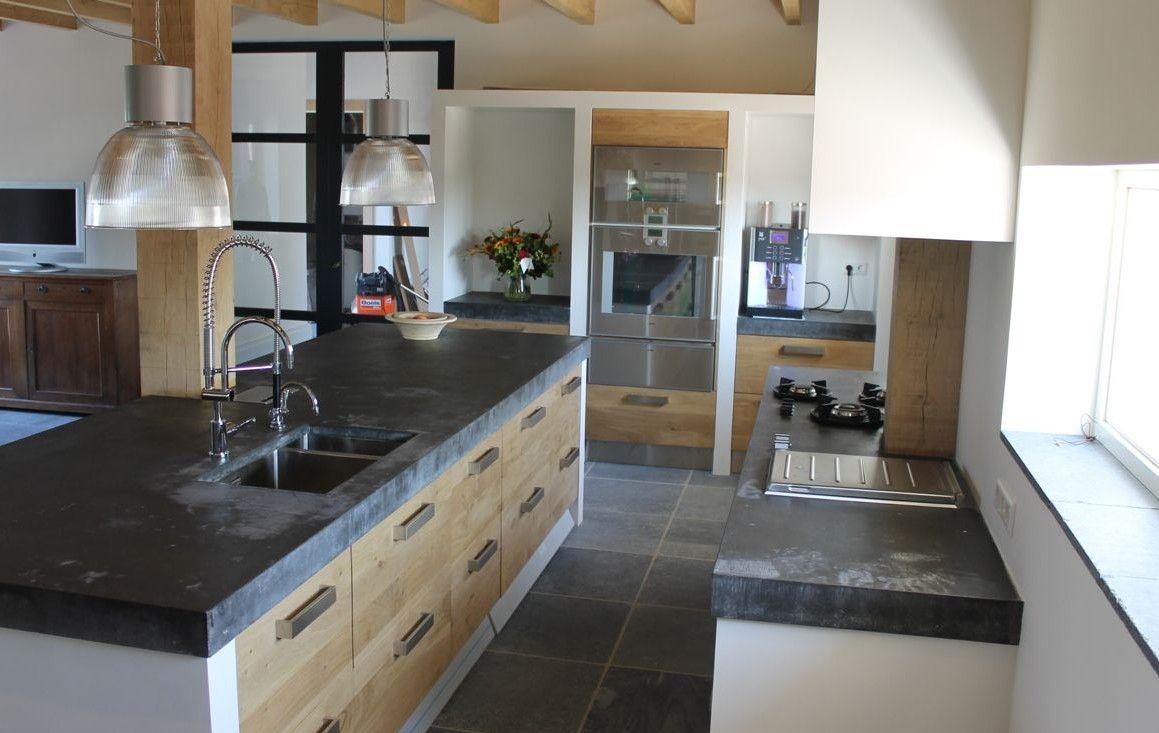 houten keuken met ikea kasten dig betonnen blad van 10 cm ter plaatse gestort kitchen. Black Bedroom Furniture Sets. Home Design Ideas