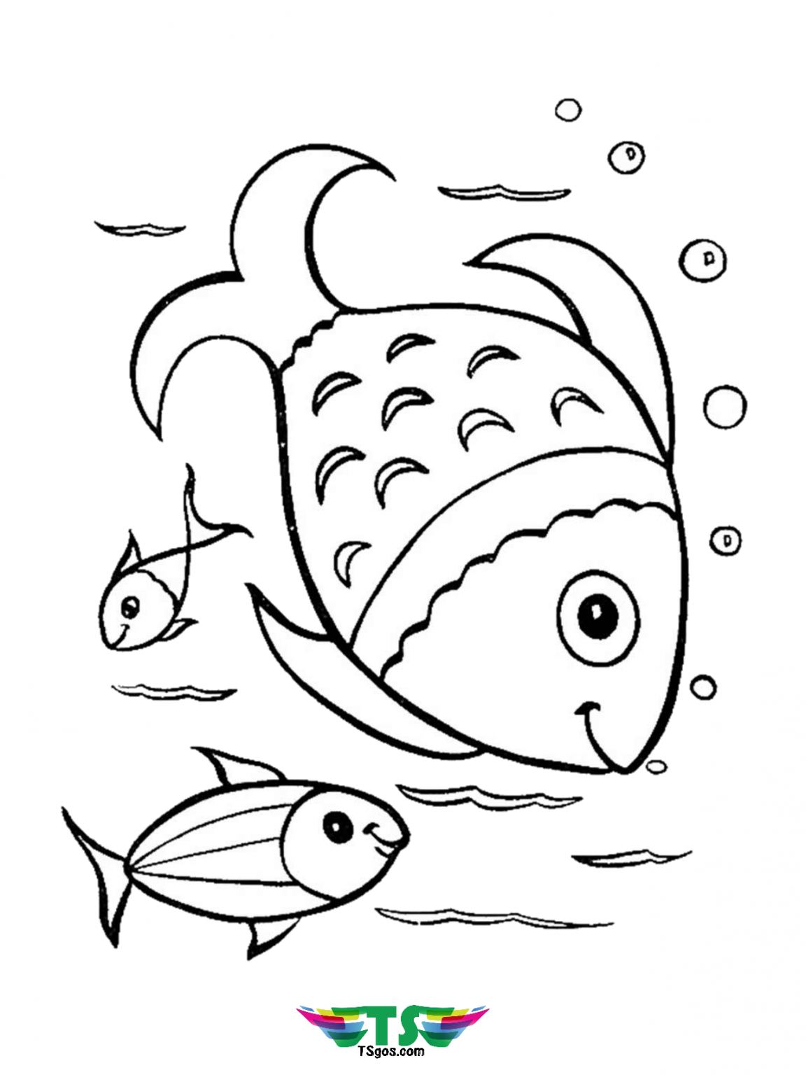 Free Download Beautiful Fish Coloring Page For Toddlers