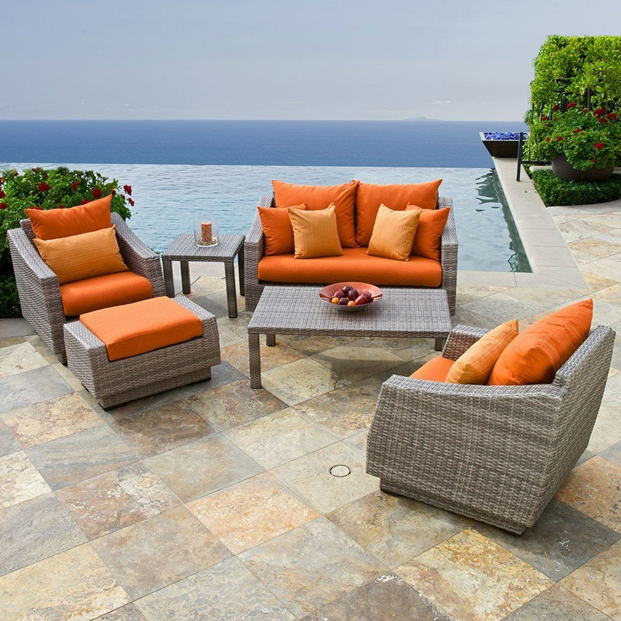 Modern outdoor patio furniture - Orange Cushions Modern Outdoor Patio Furniture