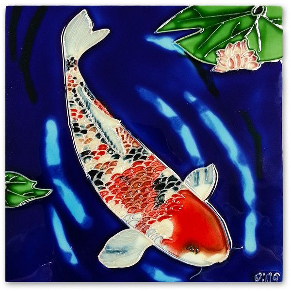 Continental Art Koi Fish Garden Art Tile (125 NOK) ❤ Liked On Polyvore  Featuring