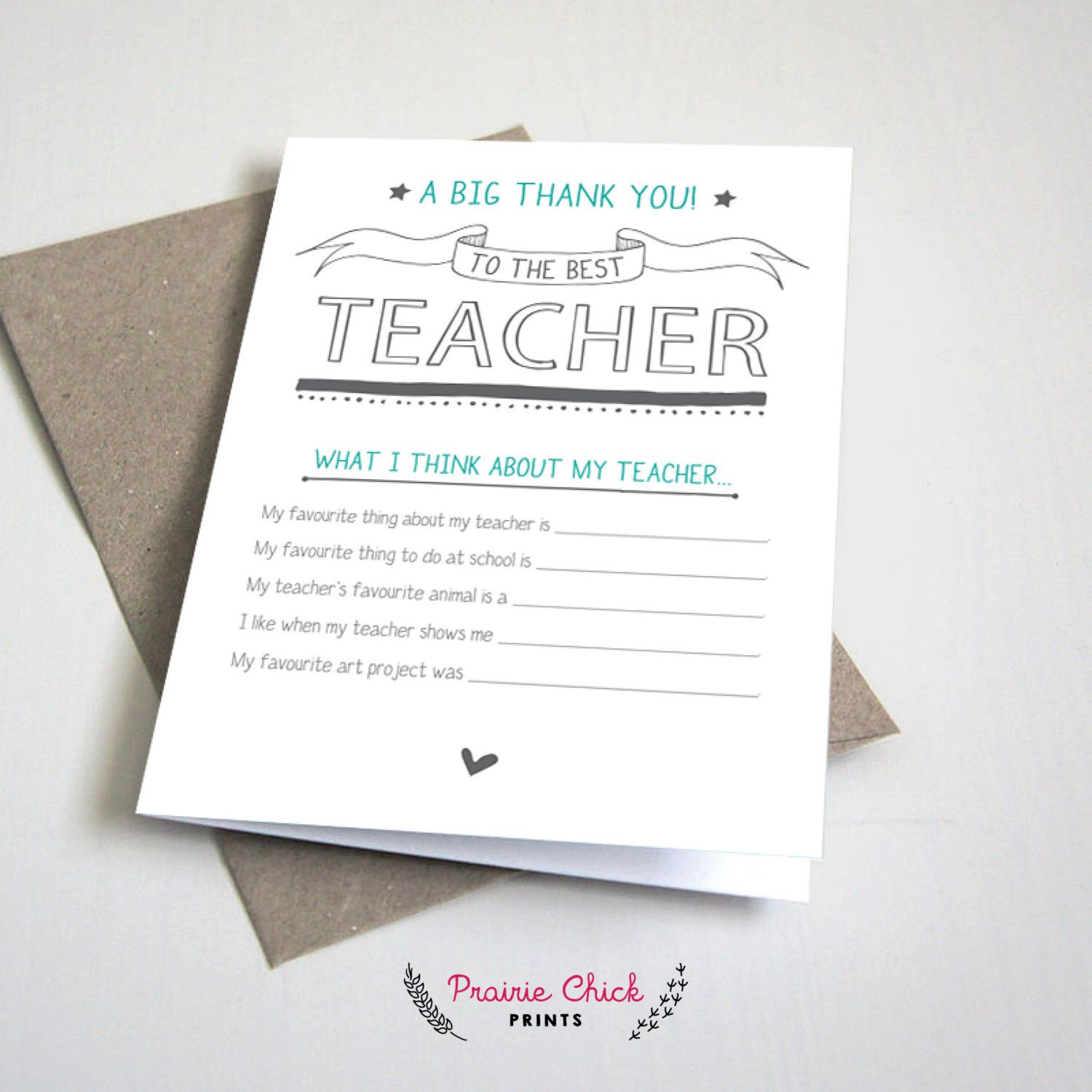 The Best Teacher Card Thank You Card Fill In The Blank