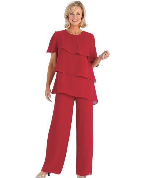 Beautiful Plus Size Mother of The Bride Pant Suits - Modest red ...