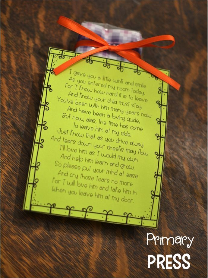 Cute idea to give parents on the first day of kindergarten
