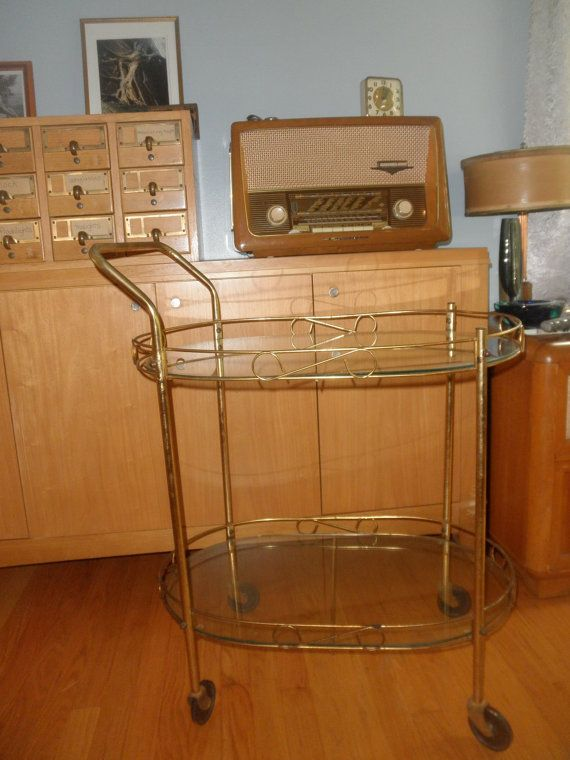 Vintage Gold Bar Cart With Glass Shelves By Yettitreasures