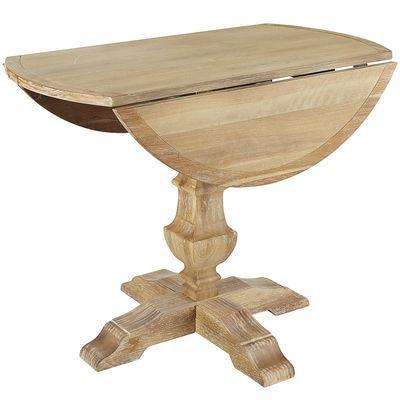 Bradding Natural Stonewash Round Drop Leaf Dining Table