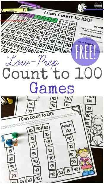 FREE Low Prep Count to 100 Games - These are such a fun way to help kids practice counting to 100 by 1s, 5s, 10s and more. Great for Kindergarten, first grade, 2nd grade math (homeschool, math practice, math centers) <a class=pintag href=/explore/count/ title=#count explore Pinterest>#count</a> <a class=pintag href=/explore/countto100/ title=#countto100 explore Pinterest>#countto100</a> <a class=pintag href=/explore/counting/ title=#counting explore Pinterest>#counting</a>  FREE Low Prep Count t