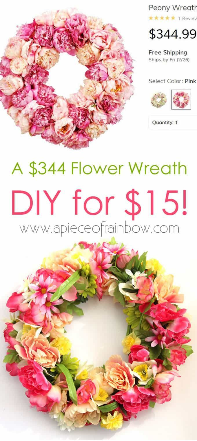 Super creative & easy way to make a beautiful $344 flower wreath for $15, using free & Dollar... Super creative & easy way to make a beautiful $344 flower wreath for $15, using free & Dollar Store materials! Perfect decor for farmhouse & boho style! - A Piece of Rainbow,