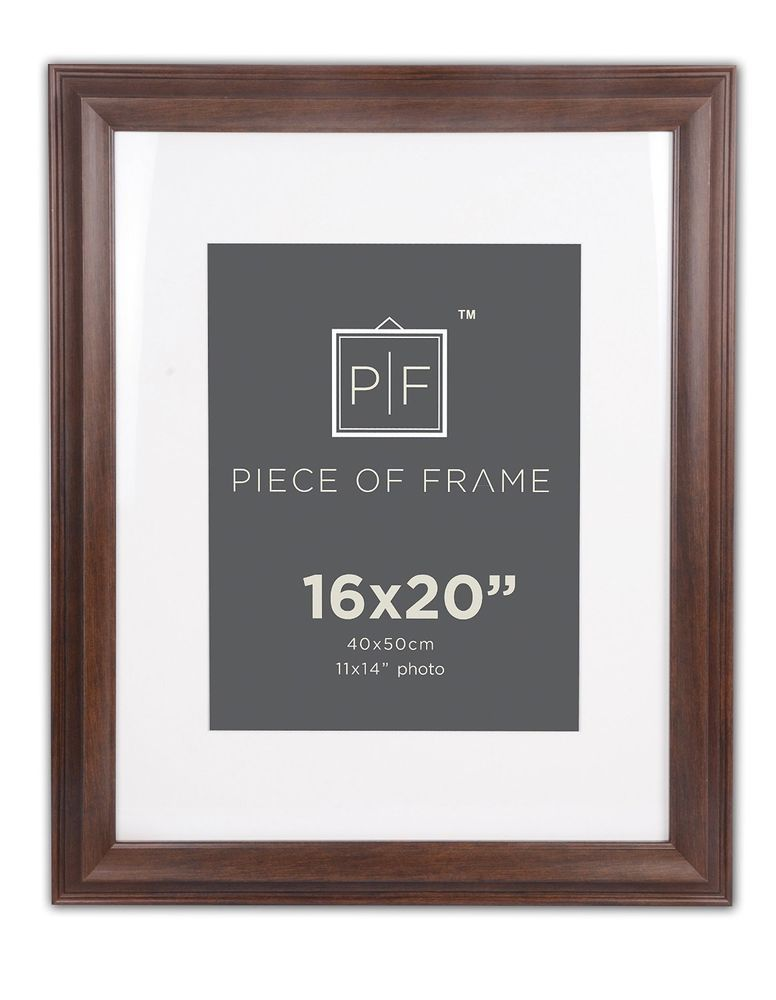 16x20 Brown Border Photo Frame With Ivory Mat For 11x14