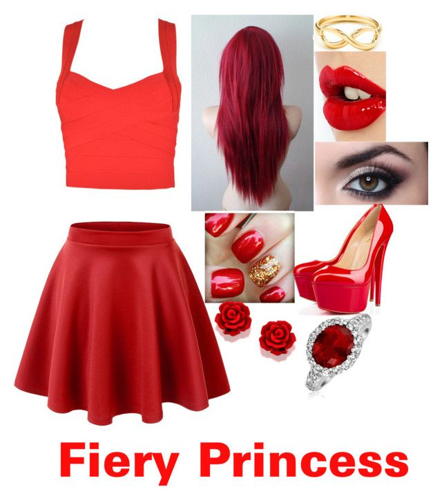 """Fiery Princess"" by littlefeather11 ❤ liked on Polyvore featuring Tiffany & Co., Charlotte Tilbury, Christian Louboutin and Bling Jewelry"