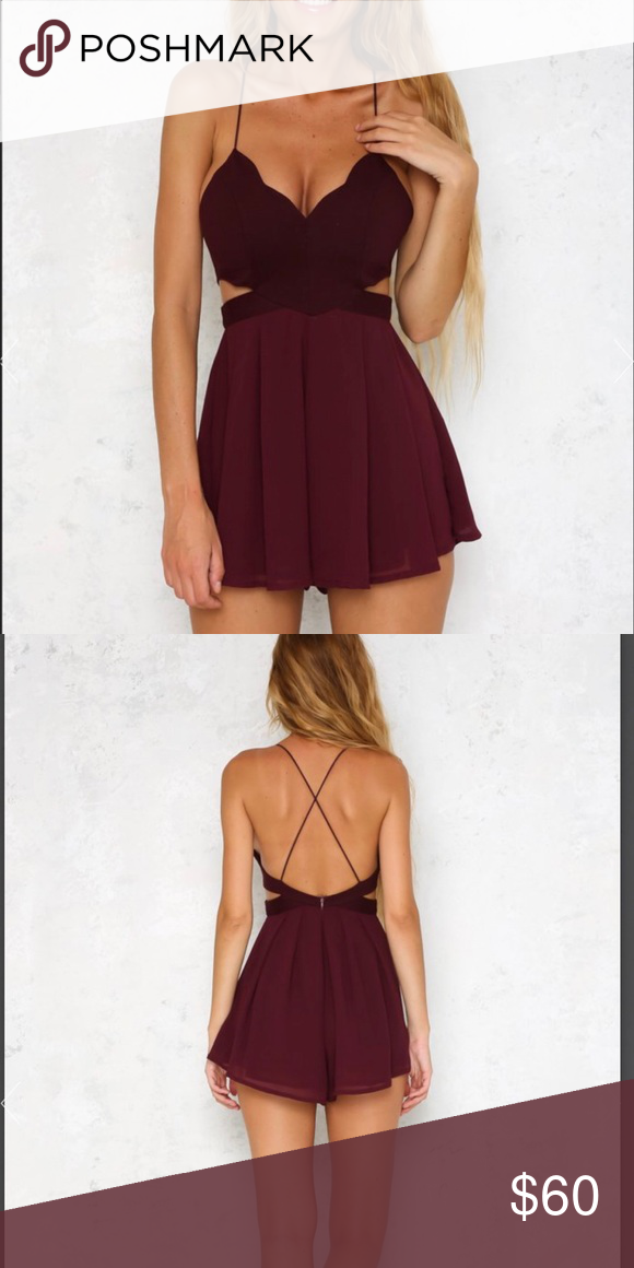 81385ecb0337 Captivated Romper in Plum Brand new with tags! Sold out on Hello Molly.  Perfect color for Fall! Our Captivated Romper has the cutest scalloped  bodice!