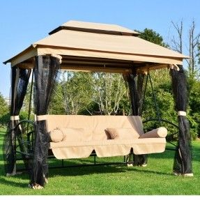 Outdoor Patio 3 Person Gazebo Swing Daybed Bench Hammock Canopy