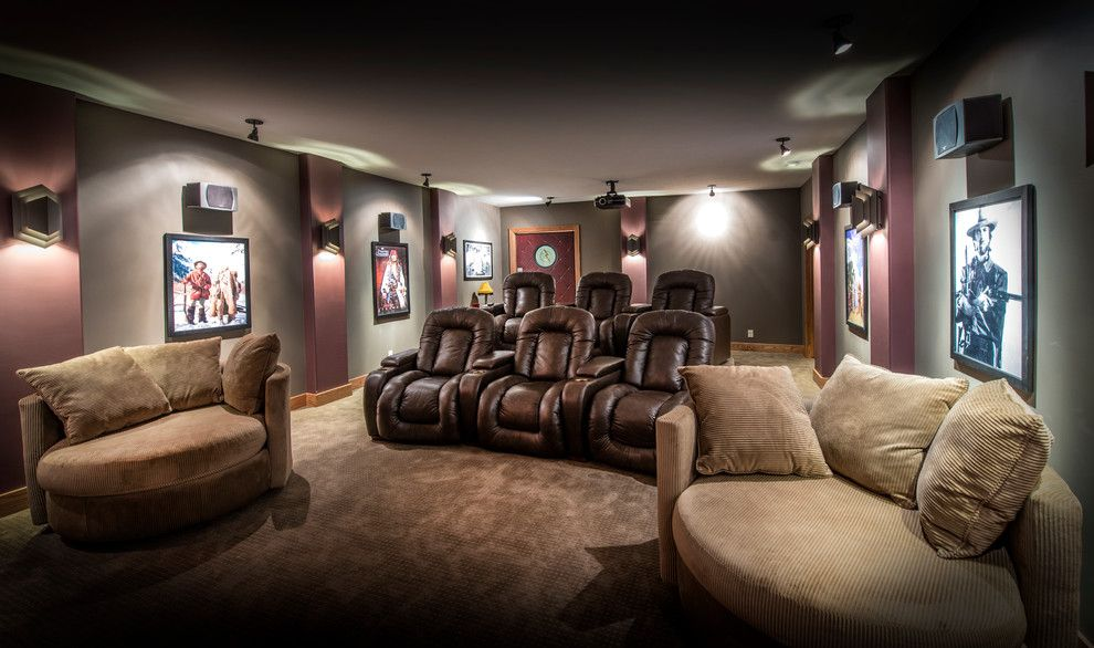 Superb Chair And A Half Recliner In Home Theater Craftsman With In