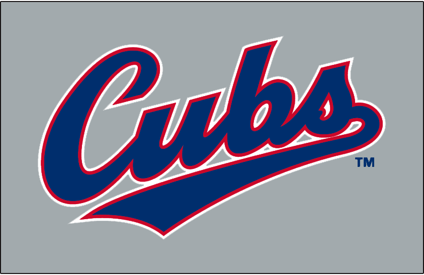 Chicago Cubs Wordmark Logo 1994 Road Scripted In Blue With