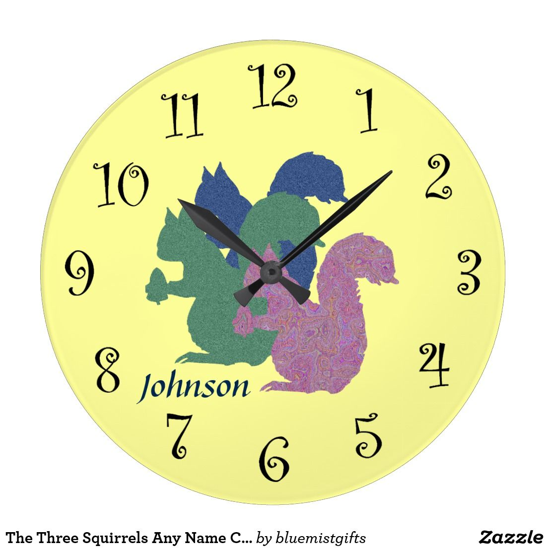 The Three Squirrels Any Name Clock Zazzle Com Squirrel