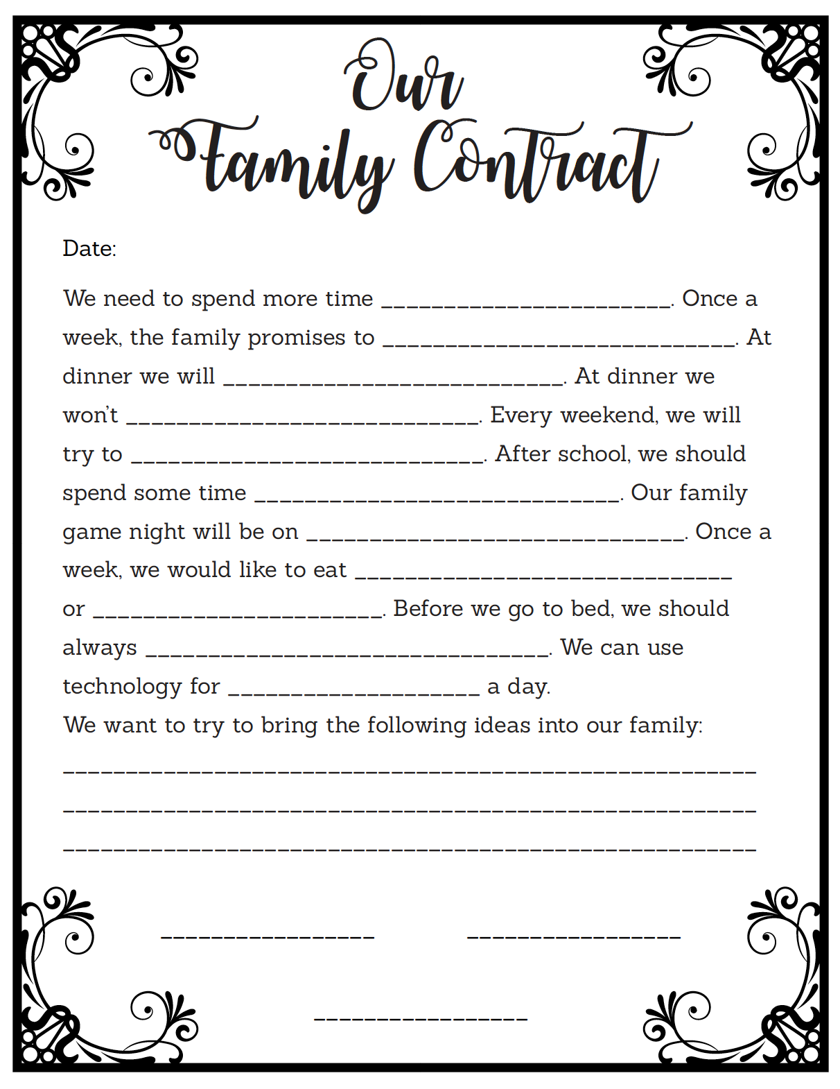 Free Family Contract Printable Fill In The Blank Contract