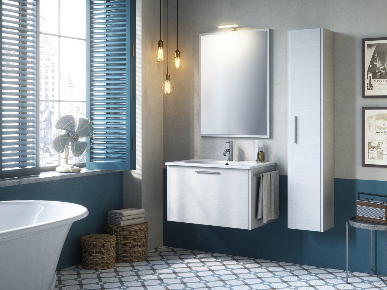 Mobile bagno smile 75 cm bianco effetto legno con lavabo