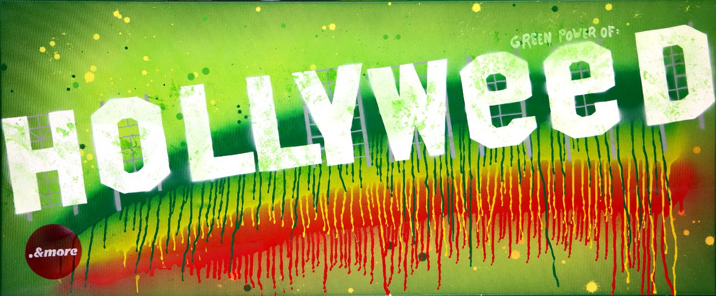 """"""".&more"""" Hollyweed, stencil art, canvas."""