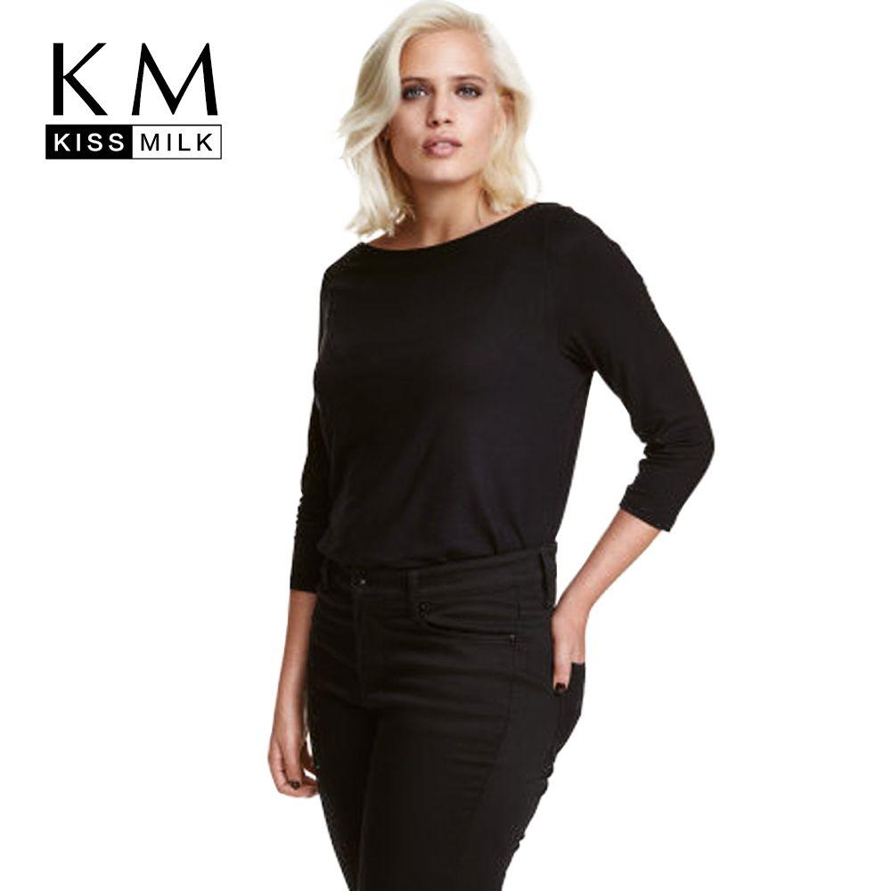 Kissmilk plus size new fashion women clothing casual solid black t