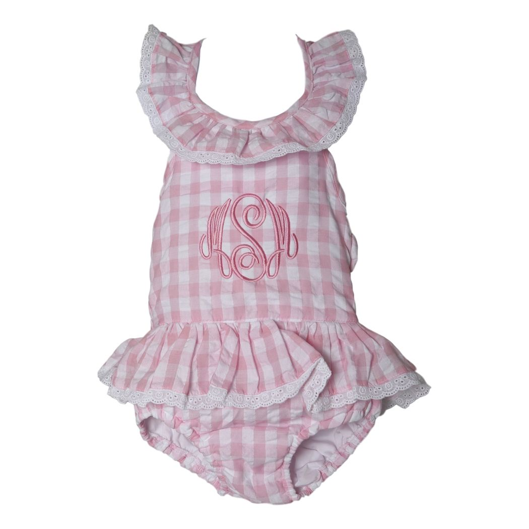 0a2d3456719 Pink Check Seersucker and Eyelet Swimsuit - Smocked Threads by Cecil ...