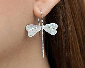 Dragonfly earrings, solid sterling silver dangle dragonfly earrings, minimalist dragon fly hypoallergenic earings, unusual dragonfly jewelry
