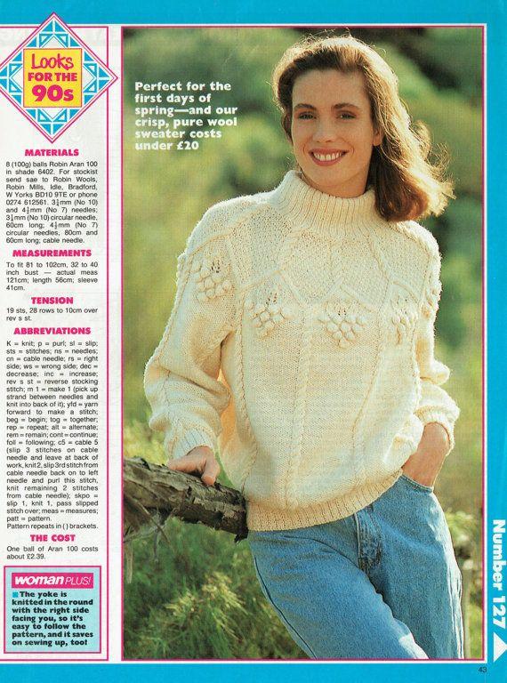 Ladies Pretty Grapes Yoke Jumper Knitting Pattern Aran Larger