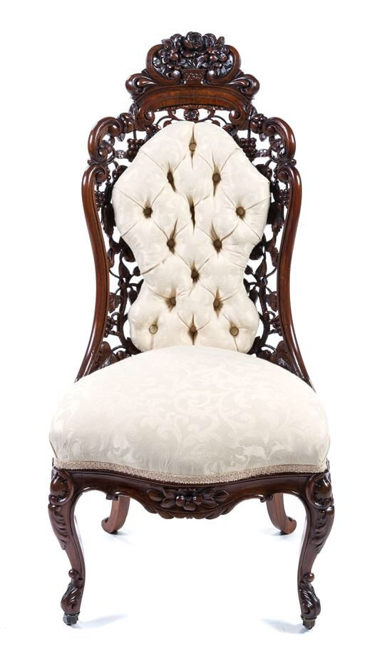 An American Victorian Slipper Chair Attributed To John Henry Belter
