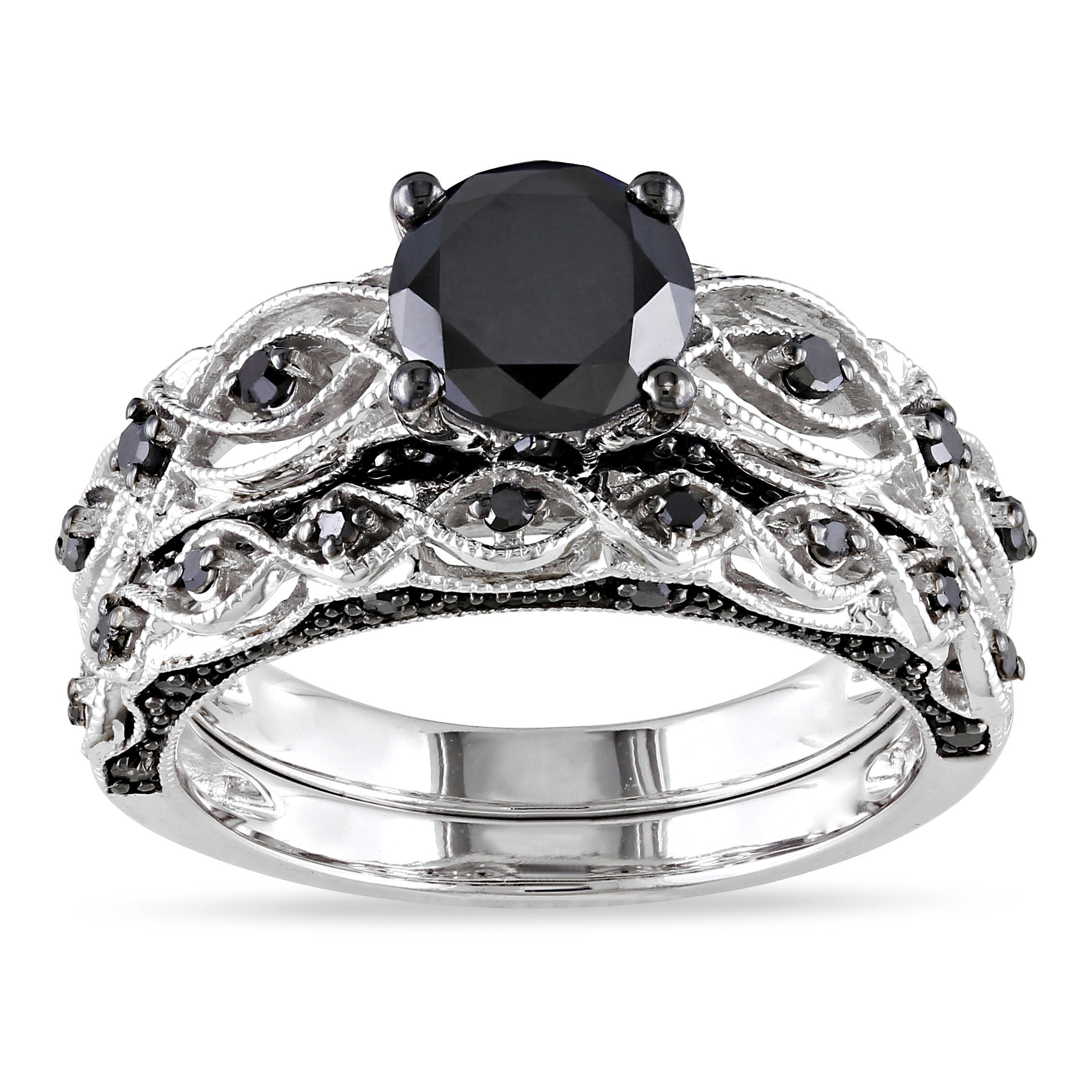 Miadora 10k White Gold 1 3/8ct TDW Black Diamond Infinity