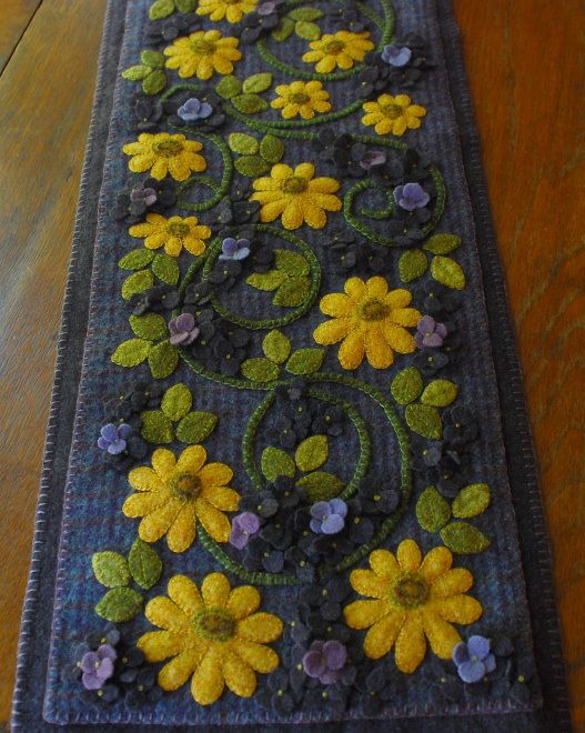 Hand dyed purple green yellow rug hooking wool applique black-eyed susans wall hanging felted wool felt vines summer autumn fall penny rug
